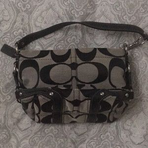 Black and gray coach bag